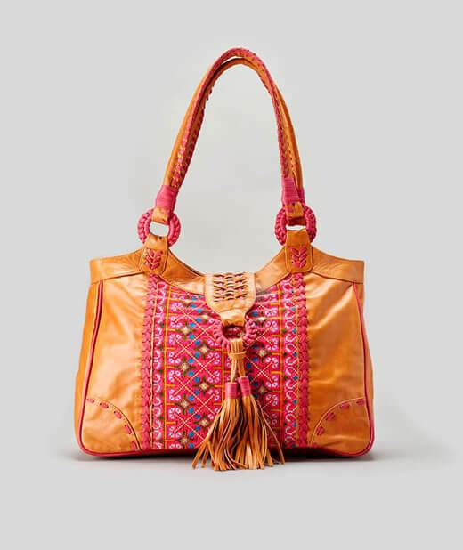 Boho chic leather bag